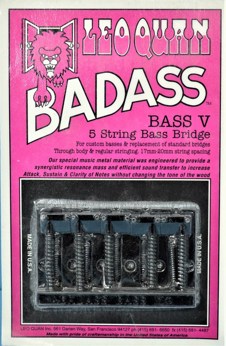 BB-0325 Badass® V. 5 String Bass Bridge - BLACK