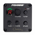 CLA-101 Fishman on-board pre amp system designed for Classical Guitar, with battery and output jack box combo, prewired Sonicore pickup, Tuner, Tone Controls