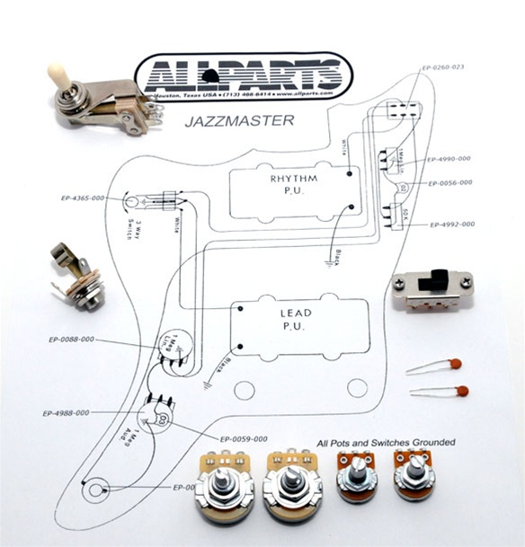 EP-4135-000 Jazzmaster® Wiring Kit on fender jaguar manual, fender jaguar switches, fender jaguar wiring kit, fender esquire wiring harness, fender jaguar hardware, fender stratocaster wiring harness,