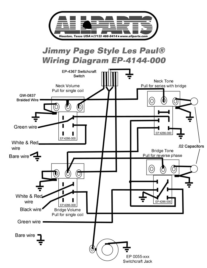 Wiring Kit for Jimmy Page Les Paul AllpartsItalia com
