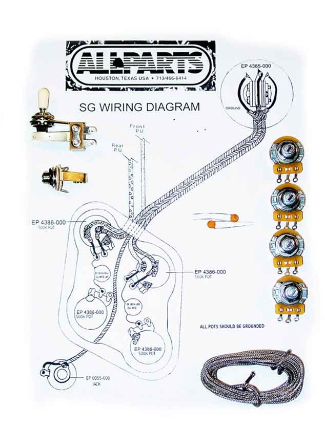 Gibson Sg Special Faded Wiring Diagram : Wiring kit for sg guitars allpartsitalia