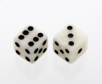 PK-3250-055 White Pearl. Dice Knobs