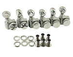 W-KLF-3805CL KLUSON® LOCKING TUNERS FOR FENDER® - 6 IN LINE - OVAL METAL BTN - CHROME